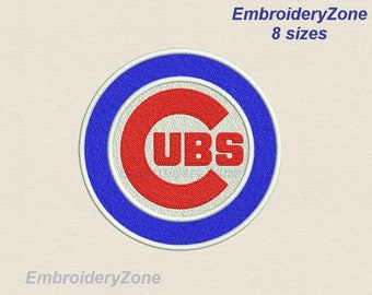 Chicago Cubs machine Embroidery Design (Full filling design)not applique. Emblem Baseball team MLB. 8 Sizes Hoop 4x4 5x7 6x10 7x11