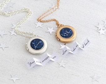 Rose Gold Locket, Star Sign Necklace, Small Locket, Silver Locket, Minimalist Jewelry, Everyday Jewelry, Personalised Locket, Zodiac Locket