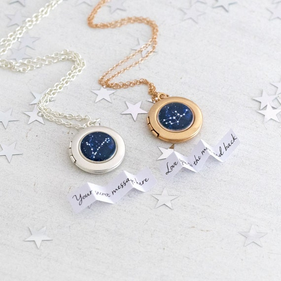 Silver or Rose Gold Zodiac Necklace Locket