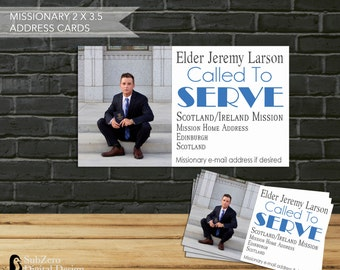 LDS Missionary Address Cards - Business Size Address Cards with Missionary Photo, Address and Email - Digital File