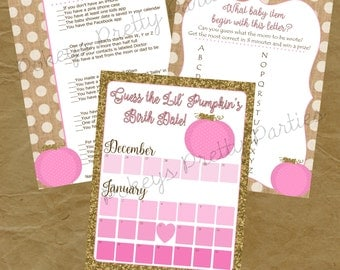 Lil Pumpkin - Baby Shower Game Pack - PERSONALIZED