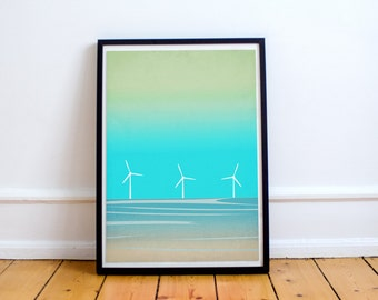 Seascape Art Print, Beach Decor, Abstract Art Landscape, Ocean Art, Minimalist Poster, Coastal Decor, Beach Art Print, Windmills, Home Decor