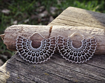 Silver earrings. Hoop earrings ethnic style. Tribal jewelry.