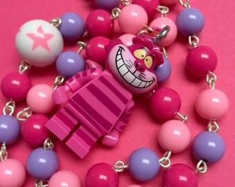 Beaded Cheshire Cat Minifigure Necklace...Handmade using LEGO® parts