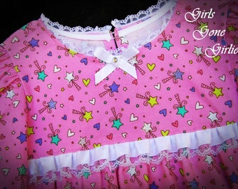 Girls pink pajamas - flannel pajamas - long sleeve - toddler sleepwear - toddler pjs - satin lace ruffle ribbon - stars and hearts - size 4
