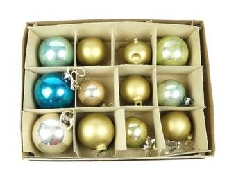 "Shiny Brite 2.25"" Christmas Ornaments Set Glass Small Miniature Tree Ornament Red Pink Blue Green Xmas Box Poland Germany German Polish"