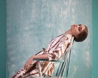 Beige striped jacket, kimono style