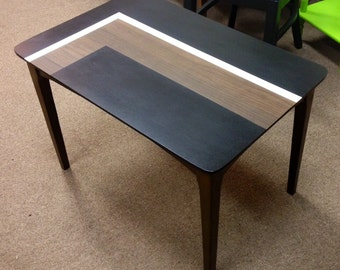 Vintage Side Table - Occassional End Living Room Table - Updated w/ Bold Mod Geometric Design Abstract Paint - 1960s 1970s