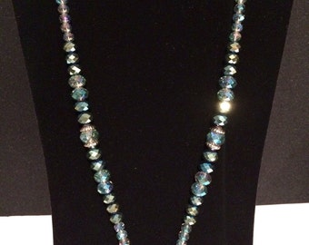 Blue /Green Cut Glass Necklace with Large Circle Cut Glass Pendant.