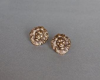 Lion Cufflinks Men's Cufflinks Steampunk Cufflinks Safari Antique Brass Statement Cufflinks Gifts for Him Leo Lion Gifts Men's Gifts