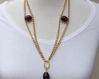 Purple necklace, purple and gold necklace, fancy purple necklace, purple glass necklace, gold-plated necklace