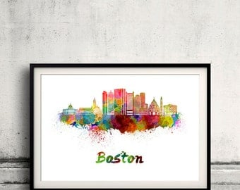 Boston skyline in watercolor over white background with name of city - SKU 2380