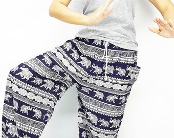 SALE!!!FROM 15.99 Elephant Pants Super Comfy plussize Navy Blue Hippie/Boho/trouser/Tribal/Aladdin/Genie/Yoga/Meditation/Relax Pants Casual