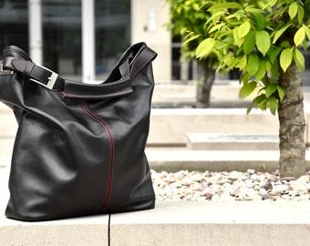 Black Leather Hobo Bag - HOLA HOLA Top Zip Medium Size Black Hobo Bag