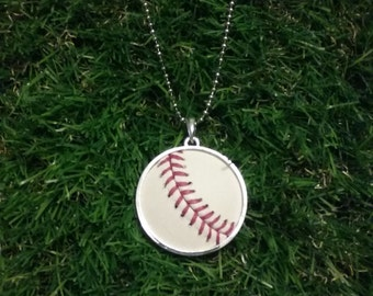 Baseball Necklace- Classic- Round 1 5/8 inch, Metal Back