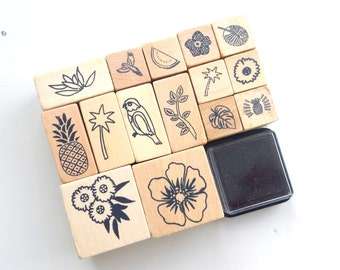 Wooden rubber tropical stamp set, including 15 stamps and 1 black ink pad