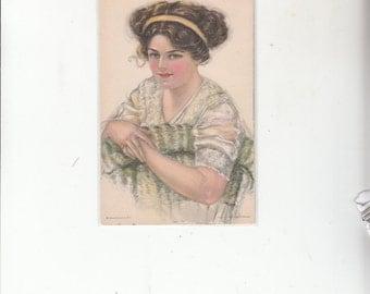 "A/S Pearl Fidler Le Munyan Antique Postcard C1910 A Beautiful Woman"" Unused"