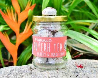 Organic Pu-erh Tea in a JAR 15pc. / Traditional Chinese Tea / Organic Tea / Fair-trade Tea / Naturally Sourced Tea / Herbal Tea / Health Tea
