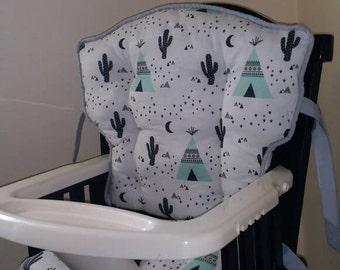 Custom Teepee Tribal Woodland Eddie Bauer High Chair Cushions, High Chair Pads, High Chair Cover, Replacement Cover, High Chair Cover