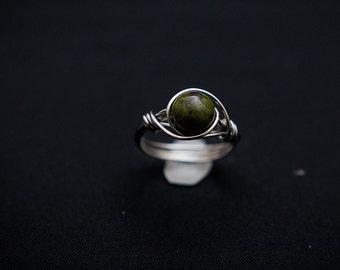 Green Jasper Wire Wrap Ring