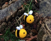 Bee Keychain/Ornament - Handmade Handcrafted Crocheted Amigurumi Christmas Children Birthday Baby Shower Gift (Price for one item)