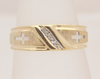 Cross Engraved 10K Yellow Gold Band With Diamond Accent