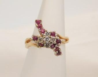 1.00 Carat T.G.W. Round Cut Ruby & Diamond Cluster Ring 14K