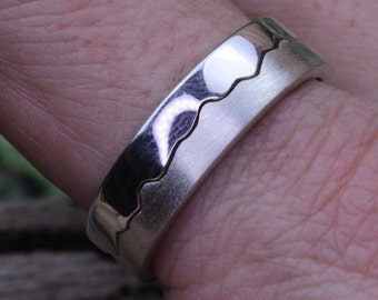 Two Part Coastline interlocking Ring Sterling Silver LARGE Z+1