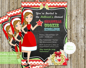 Cookie Exchange Invitation Christmas Cookie Swap Christmas Party Holiday Invite Digital Printable