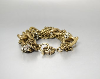 Vintage Chunky Bracelet Antique Gold Link Bracelet, Antique Brass Chain Rhinestone Spacers