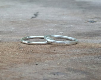 Stacking Ring Set, Sterling Silver Hammered or Smooth Stacking Ring Set