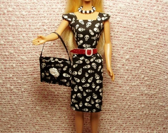 Barbie Clothes - Handmade Skulls Sheath Dress, Purse, Belt, Necklace and High Heel Shoes. CHOOSE: Dress only or Dress with accessories.
