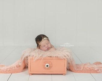 "Coral Faux Fur Basket Filler - Soft Basket Stuffer, Newborn Photography, Basket Prop, Soft Fur Prop, Faux Fur, Baby Girl Boy - 23"" W x 19"" H"