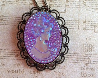 Sparkling Pale Violet Cameo Pendant, Cameo Pendant, For Her, Womens Jewelry, Gift Ideas, Statement