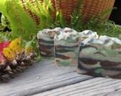 Hunter's Camo Soap, Natural Soap, Dirt Soap, Artisan Soap, New Hampshire Handmade, Cold Process Soap, Fishing Soap, Woodsy Soap, Army Soap