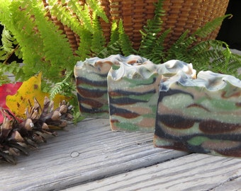 Hunter's Camo Soap, All Natural Soap, Dirt Soap, Grass Soap, New Hampshire, Man Scent, Fishing Soap, Hunters Gift US Army Gifts for Men