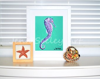 Purple Sea Horse Art Print