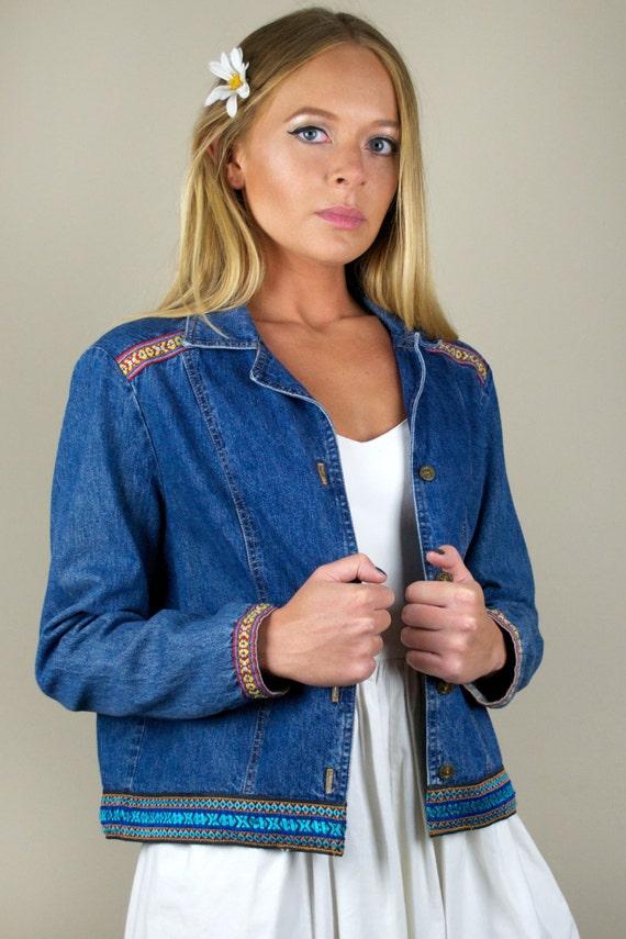 Vintage 90s Blue Denim Embroidered Tribal Pattern Jean Jacket