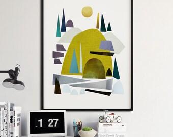 Printable Art, Instant Download, Nordic Art, Mid Century Nature Print, landscape print, Scandinavian art, Earth Tones, 12x16