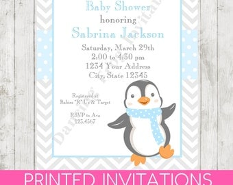 Penguin Baby Shower Invitations - Printed Penguin Baby Shower Invitation by Dancing Frog Invitations
