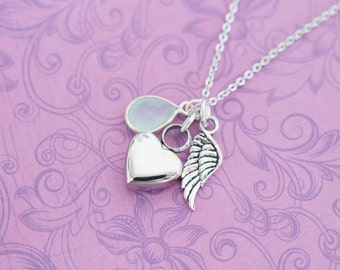 Mini Chalcedony Memorial Pendant with Angel Wing - Cremation Jewelry - Engraved Jewelry - Urn Necklace - Pet Memorial - Ash Necklace