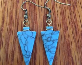 Acrylic Turquoise Earrings.  BC0187