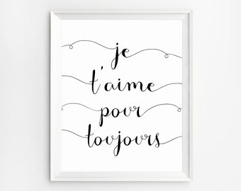 Je t 'aime, French quote, French typography, French Wall Art Print, French Art, French words, French Print, Love quotes print, French saying