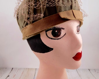 Pillbox hat,union made,1950s hats,1950s props,womens pillbox hats,1950s accessories,vintage,brown,gifts for her