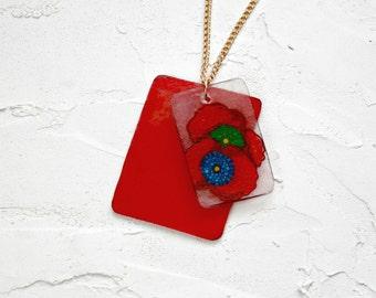 Poppy necklace, Charm necklace, Layered necklace, Shrink plastic necklace, Statement necklace, Choker, Poppy, red, gold, Pendant necklace
