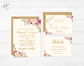 Floral Wedding Invitation Printable Boho Wedding Invitation Suite Bohemian Wedding Invite Floral Spring Summer Wedding Peonies Collection