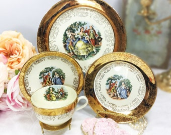 22 kt Gold Handpainted 4 Piece Colonial Couple, Fragonard, Love Story, Courting Couple, Teacup, Saucer, Dessert Plate, & Dinner Plate #A45