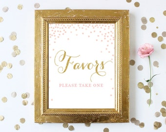 Bridal Shower Favors Please Take One Sign Printable 8x10 . Blush Pink and Gold Glitter Bridal Shower Signs . Wedding Sign Instant Download