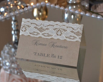 Rustic Lace Place Cards Rustic Name Cards Rustic Escort Cards Rustic Tent Cards Rustic Wedding Country & Lace seating cards | Etsy