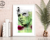 Poster - Print Abstraktes Portrait auf Fine Art Papier - abstract portrait on fine art paper -  limitiert - limited  - von zAcheR-fineT